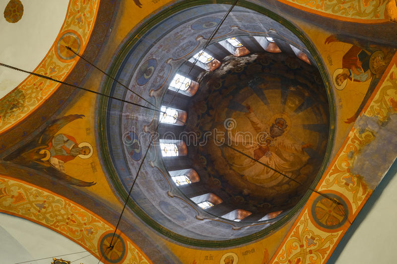 Calotte of eastern orthodox Cathedral stock photos