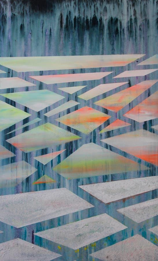 Calotte glaciali di fusione, pittura lineare astratta royalty illustrazione gratis