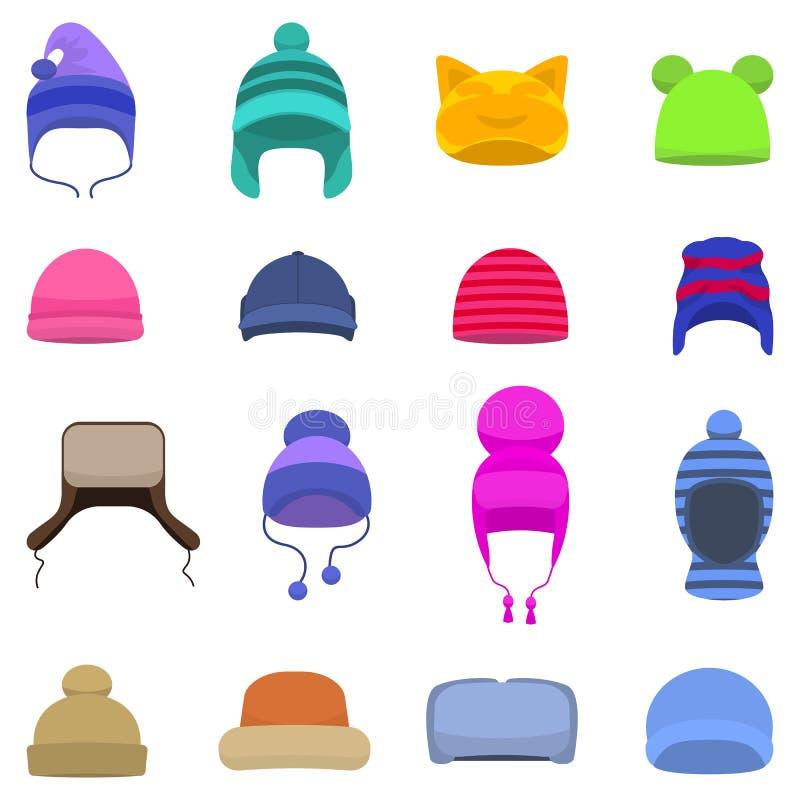 Calotte réglée de chapeau de chapeaux d'hiver de bande dessinée de vecteur illustration stock