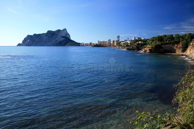 Calpe Bay in Spain. Coast landscape in Alicante Beach - Spain stock photography
