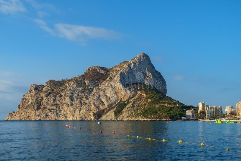 Calpe skała, Ifach i zatoka, Calpe, Costa Blanca, Hiszpania zdjęcie stock
