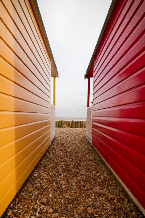 Calshot strandkojor, Hampshire, UK arkivfoton