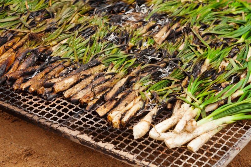 Calsot op open brand wordt gekookt die royalty-vrije stock afbeelding