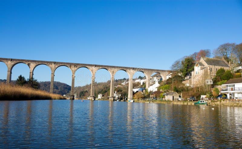Calstock è una parrocchia civile e un grande villaggio in Cornovaglia sudorientale, Inghilterra, Regno Unito, fotografia stock