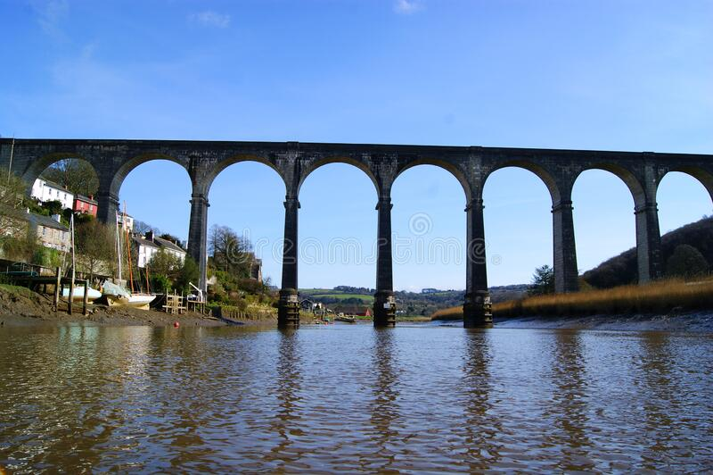 Calstock Viaduct, Calstock Cornwall uk fotografie stock