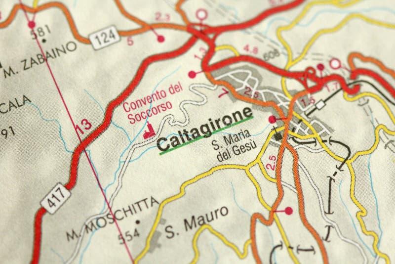 Caltagirone mapa As ilhas de Sicília, Itália foto de stock