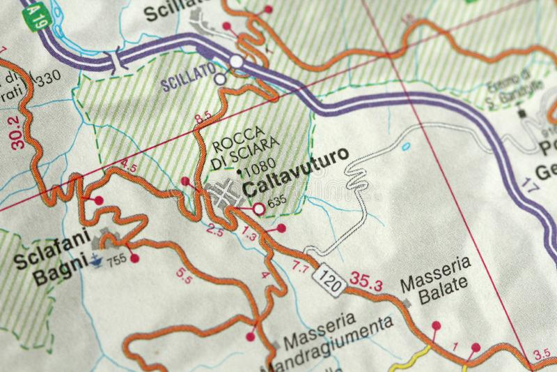 Caltavuturo carte Les îles de la Sicile, Italie photos stock