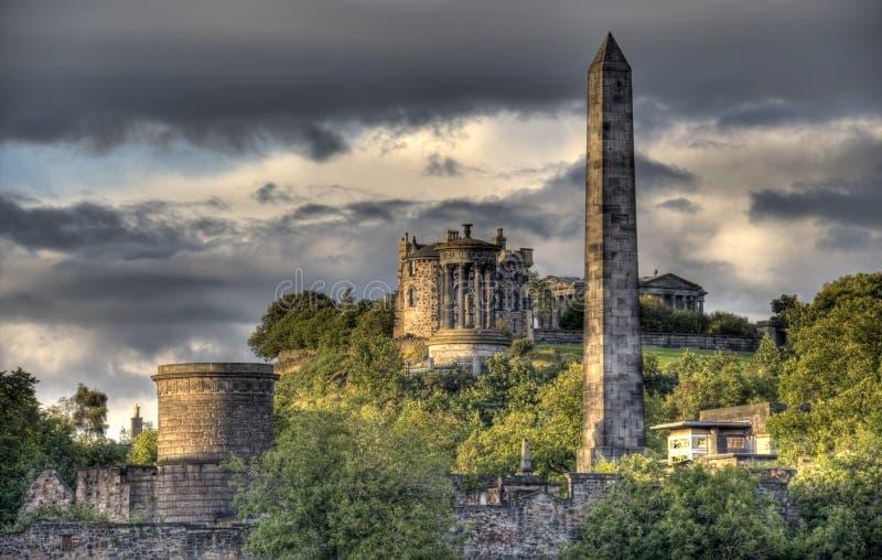 Calton Hill in Edinburgh, UK. Monuments and observatory on Calton Hill in Edinburgh, Scotland, UK stock photos