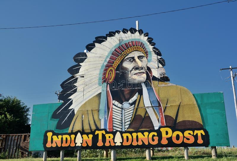 Indian Trading Post on Calumet, Oklahoma. Calumet, Oklahoma - July 20, 2017: Indian Trading Post and Art, off the Calumet exit of Interstate 40 in western royalty free stock image
