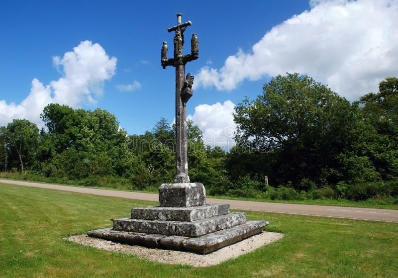 Calvaire en pierre dans Brittany image libre de droits