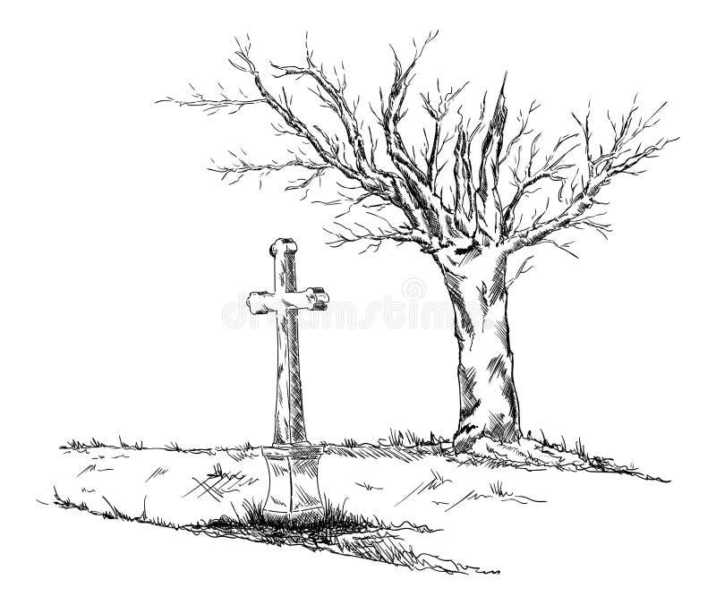 Calvary blanco y negro stock de ilustración