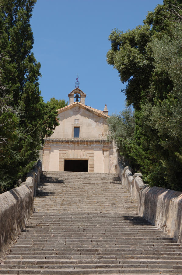 Calvary chapel from steps. Looking up the Calvary steps in Pollensa, Mallorca towards the Calvary Chapel royalty free stock images