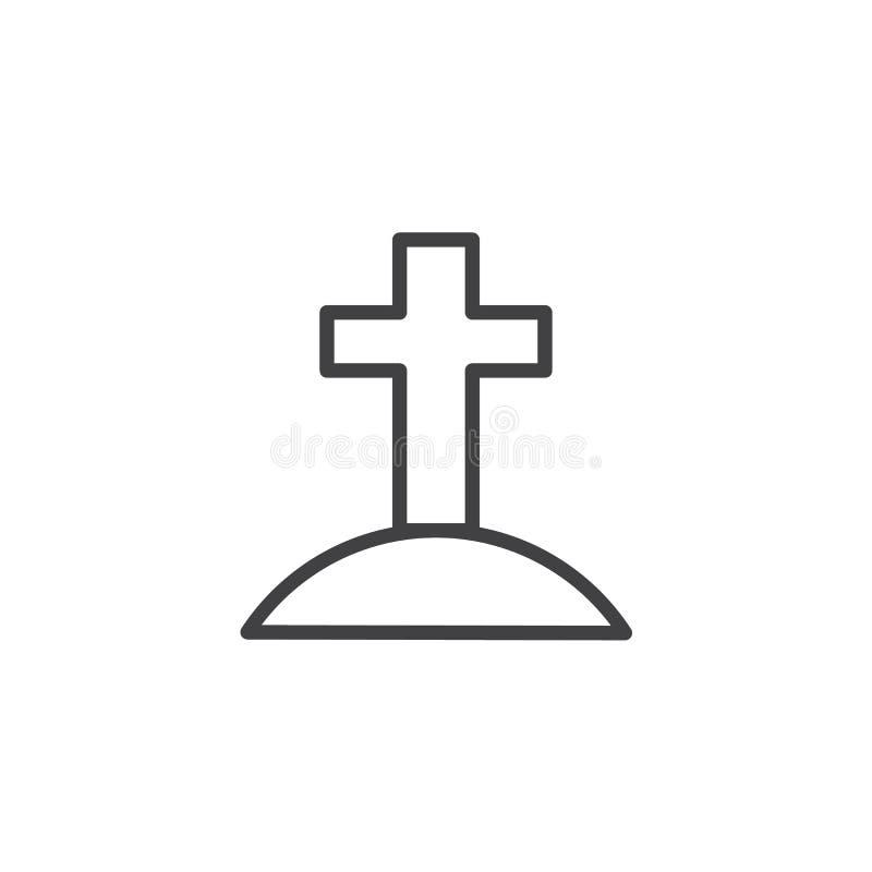Calvary con el icono cruzado del esquema libre illustration