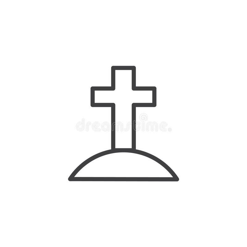 Calvary with cross outline icon. Linear style sign for mobile concept and web design. Jesus Christ Calvary simple line vector icon. Symbol, logo illustration royalty free illustration