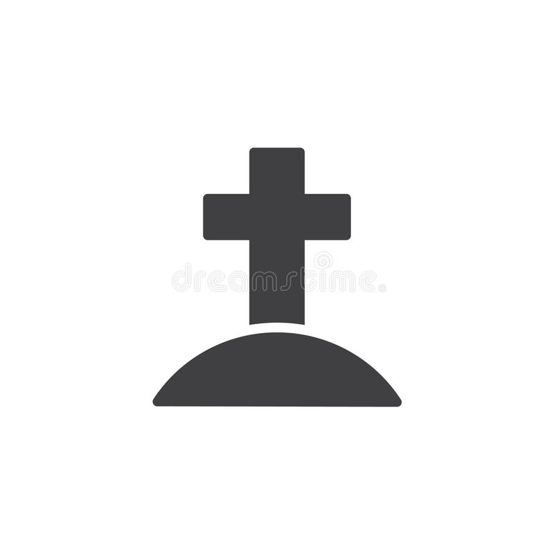 Calvary with cross vector icon. Filled flat sign for mobile concept and web design. Jesus Christ Calvary simple solid icon. Symbol, logo illustration. Pixel stock illustration