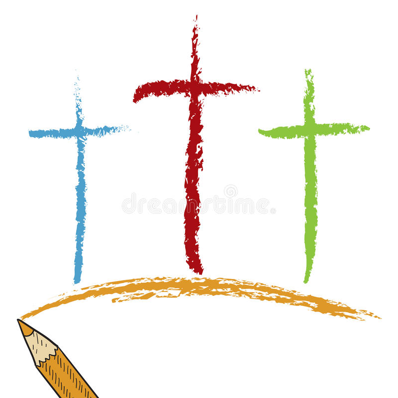 Calvary crosses colored pencil sketch. Doodle style Christian Calvary crosses sketch in vector format. Looks like colored pencil. Useful for Easter designs royalty free illustration