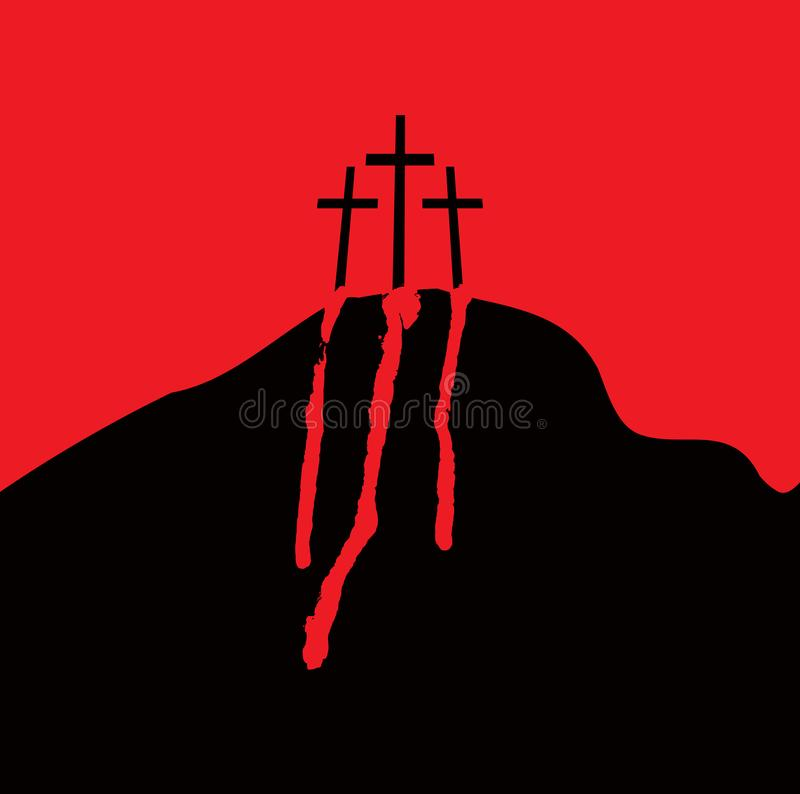 Calvary and crosses. Vector banner with mount Calvary and crosses and drops of blood stock illustration