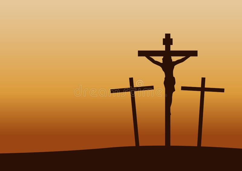 Calvary crucifixion on sunset time,important happen in Christianity history. Vector illustration stock illustration