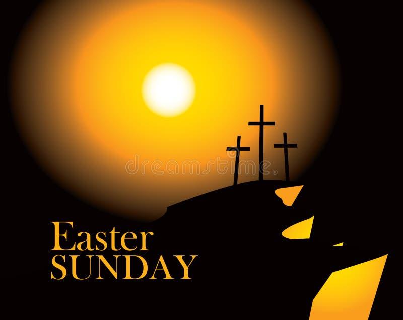 Calvary de la montaña con las cruces con el cielo y el sol libre illustration
