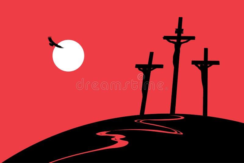 Calvary de la montaña con las cruces con el cielo y el sol stock de ilustración