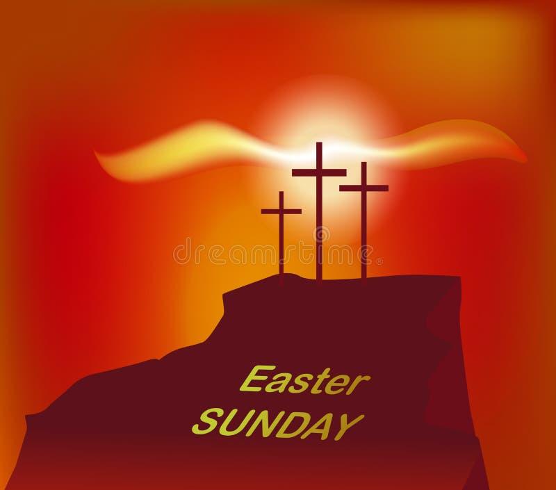 Calvary de la montaña con tres cruces con el cielo y el sol stock de ilustración