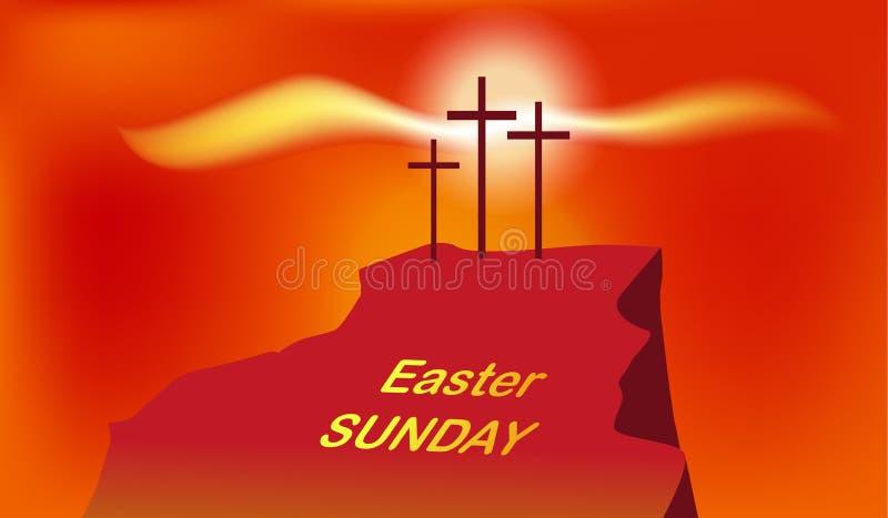 Calvary de la montaña con tres cruces con el cielo y el sol libre illustration