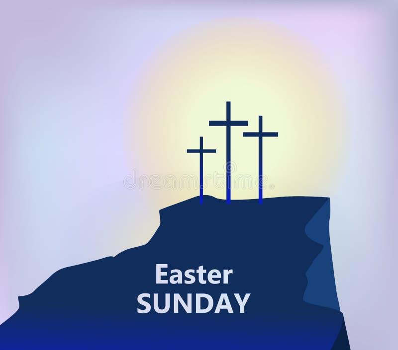 Calvary de la montaña con tres cruces con el cielo y el sol ilustración del vector
