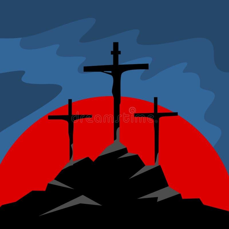 Calvary del soporte Tres cruces en la montaña, en el medio de la cruz de Jesus Christ ilustración del vector