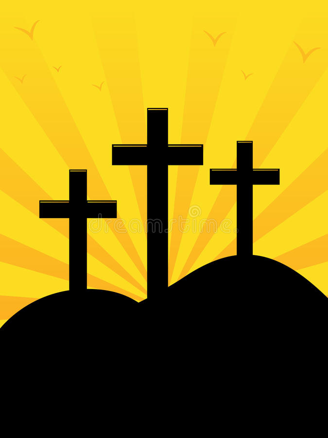 Calvary Hill Sunrise. A vector illustration of Calvary Hill the site ascribed to the crucifixion of Jesus vector illustration
