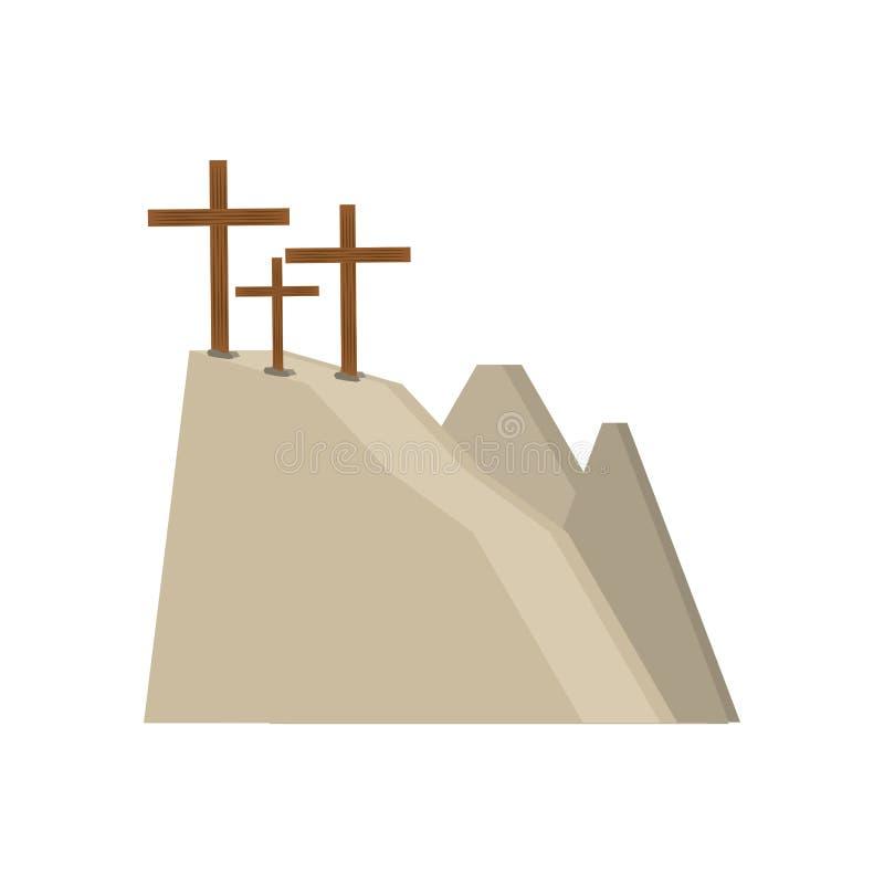 calvary hill three crosses stock illustration