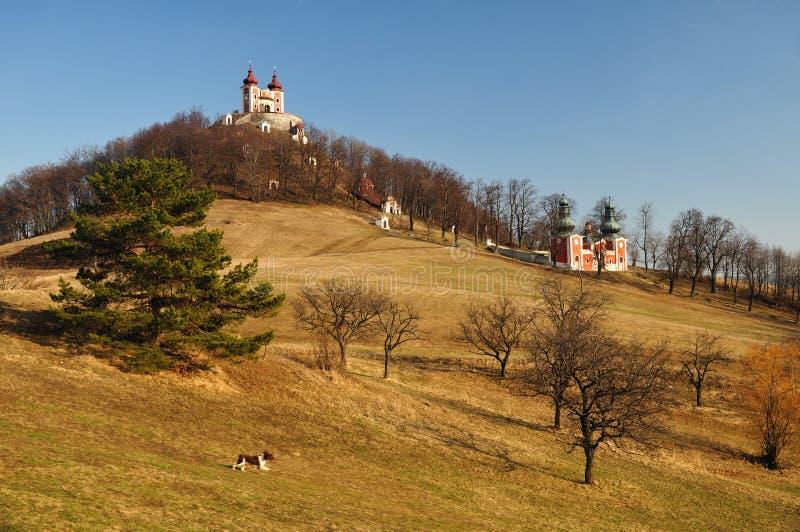 Calvary i Banska Stiavnica, Slovakien royaltyfri bild