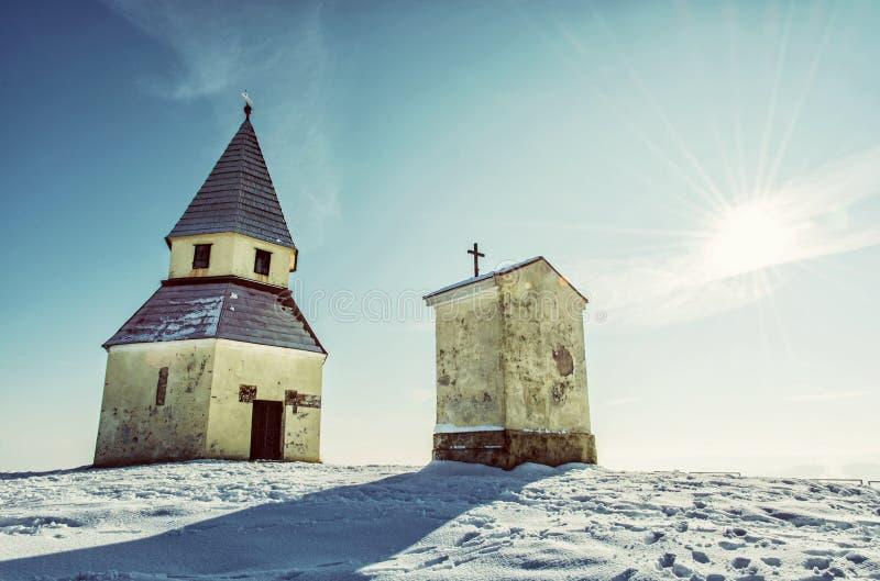 Calvary i Nitra, Slovakien, gammalt filter royaltyfria foton