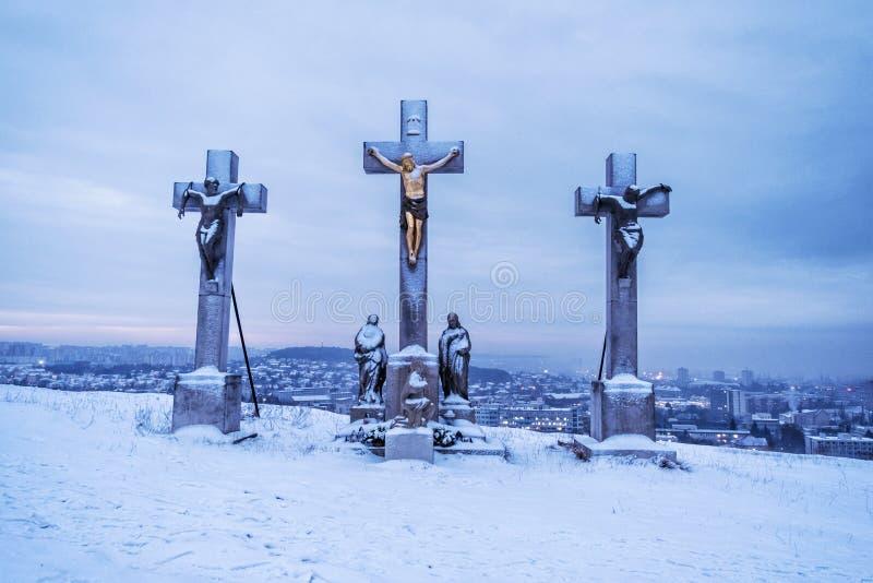 Calvary i Nitra, Slovakien, religiöst ställe, vinteraftonplats fotografering för bildbyråer