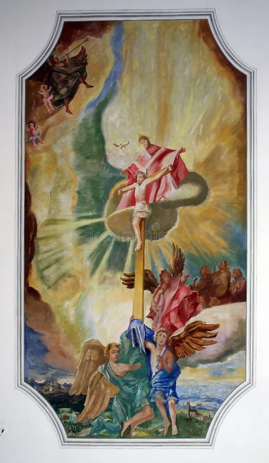 Calvary, Jesus op het kruis stock foto's