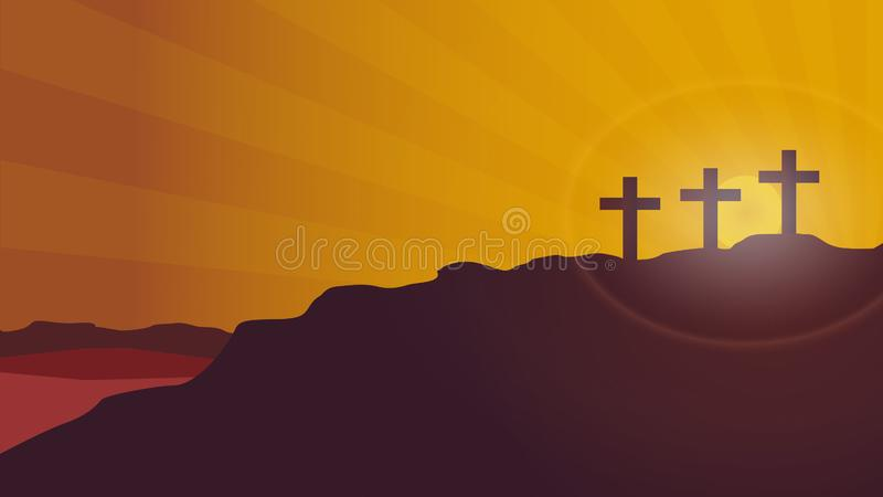 Calvary mountain sunset vector background. Vector background Cross of silhouette on the background of the sunset of the mountain of Calvary. Concept of Easter stock illustration