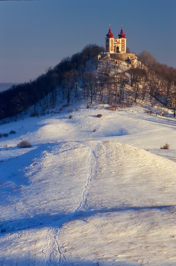 Calvary och kullar på Banska Stiavnica arkivbild