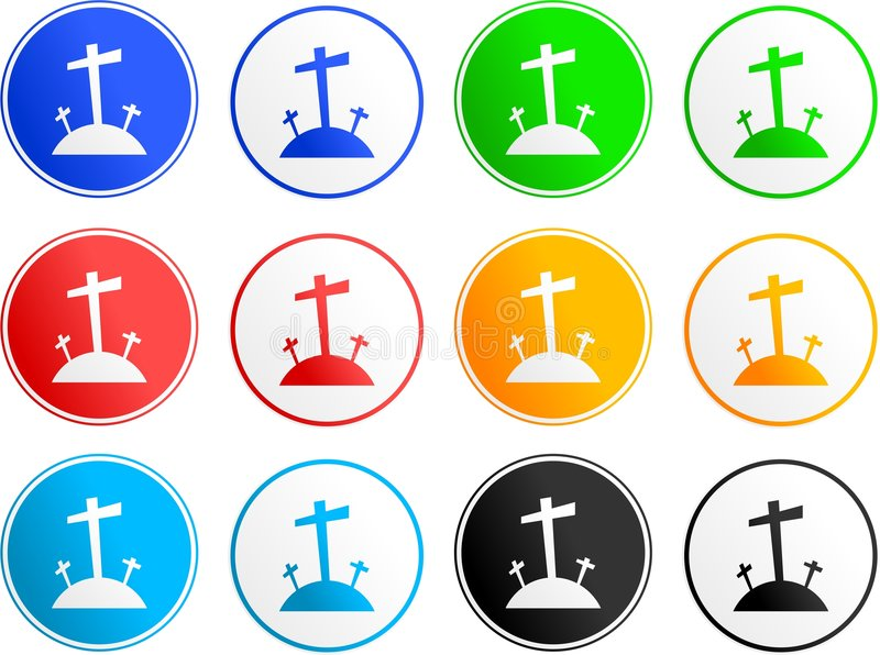 Calvary sign icons. Collection of easter calvary cross sign icons isolated on white stock illustration