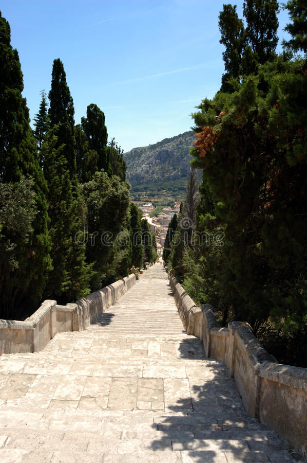 Calvary steps looking down. View down to Pollensa from the Calvary steps, Mallorca royalty free stock photography
