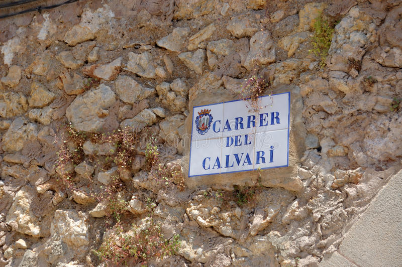 Calvary street sign. One of the street signs on the Calvary steps, Pollensa, Mallorca stock photography