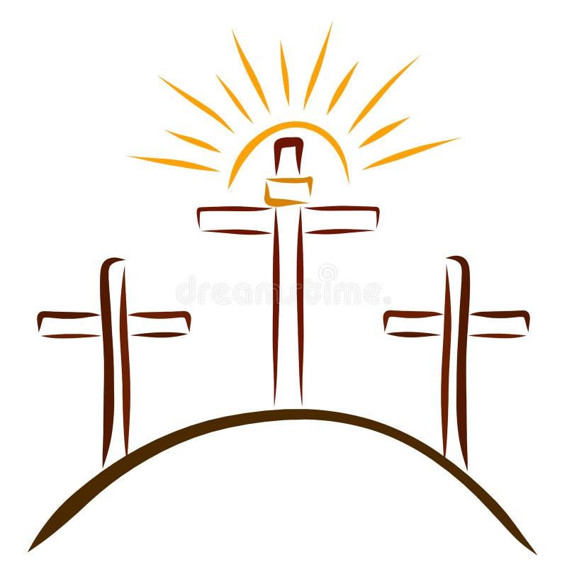 Calvary, tres cruces y un sol brillante libre illustration