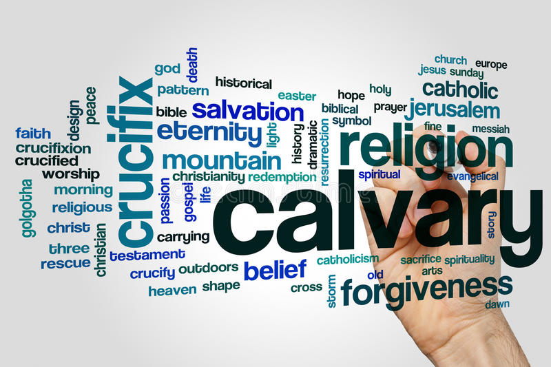 Calvary word cloud. Concept on grey background stock images