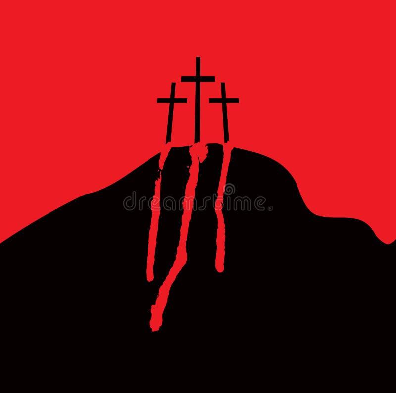 Calvary y cruces stock de ilustración