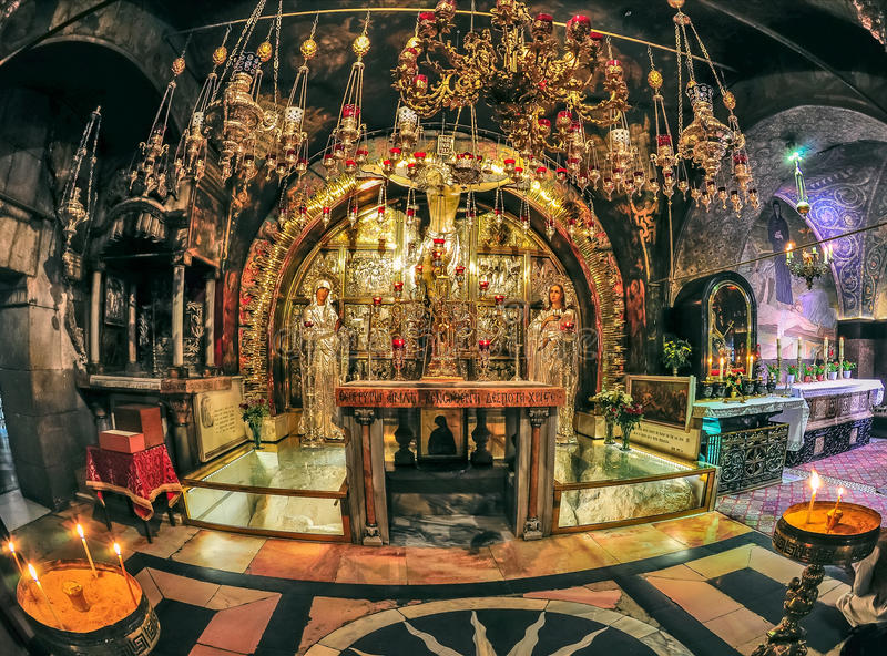 Calvarykerk van het Heilige Grafgewelf in Jeruzalem royalty-vrije stock foto's