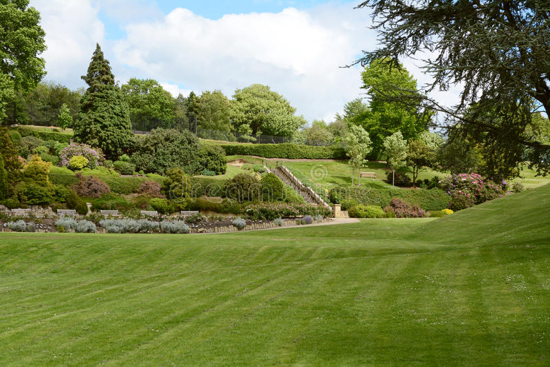 Calverley Grounds public park in Tunbridge Wells. With ornamental gardens and diverse trees and bushes stock photos