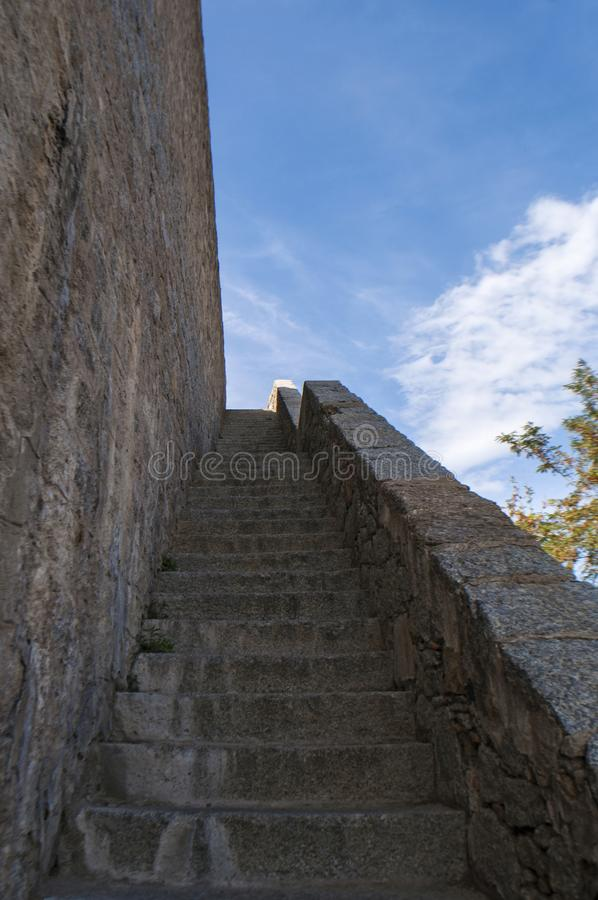 Calvi, Citadel, ancient walls, skyline, Corsica, Corse, France, Europe, island. Corsica, 01/09/2017: architectural details of the ancient walls of the perched stock images