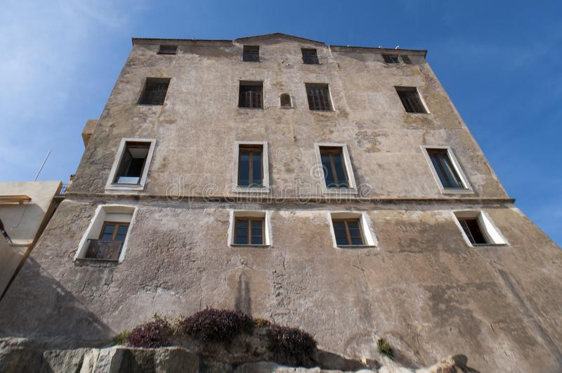 Calvi, Citadel, ancient walls, skyline, Corsica, Corse, France, Europe, island. Corsica, 03/09/2017: view of the palaces and buildings in the alleys of the royalty free stock photos