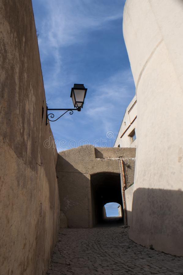 Calvi, Citadel, ancient walls, skyline, Corsica, Corse, France, Europe, island. Corsica, 01/09/2017: architectural details of the ancient walls of the perched royalty free stock image