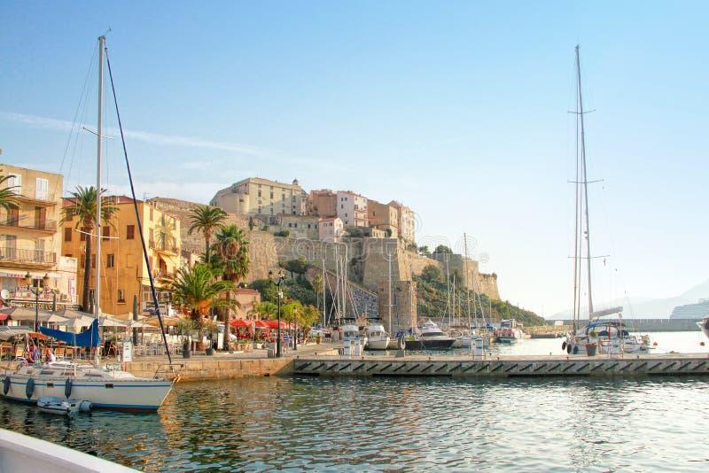 Calvi - coastal town on the island of Corsica Corse, France stock images