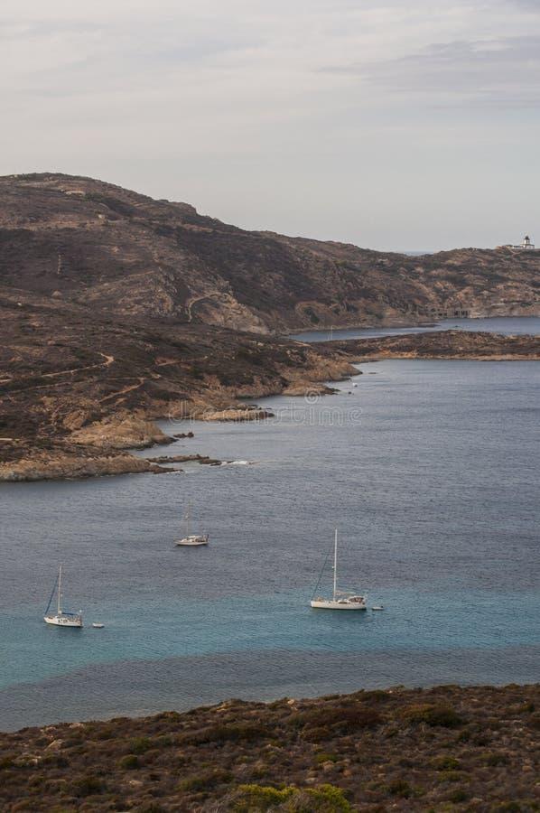Calvi, Revellata lighthouse, beach, Pointe De La Revellata, skyline, Corsica, Haute Corse, France, Europe, island. Corsica, 03/09/2017: Pointe De La Revellata royalty free stock images