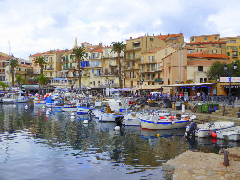 Fishing harbour and boats in Calvi stock photo